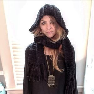 Accessories - Handmade Black Hooded Scarf with fringe